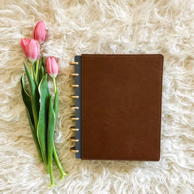 Brown vegan leather cover for disc planning system by inkWELL Press