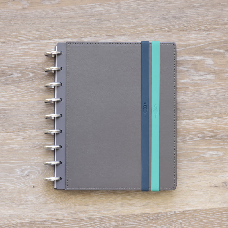 Movable Bungee Teal and Navy Book Bands on Gray 360 Disc Planner