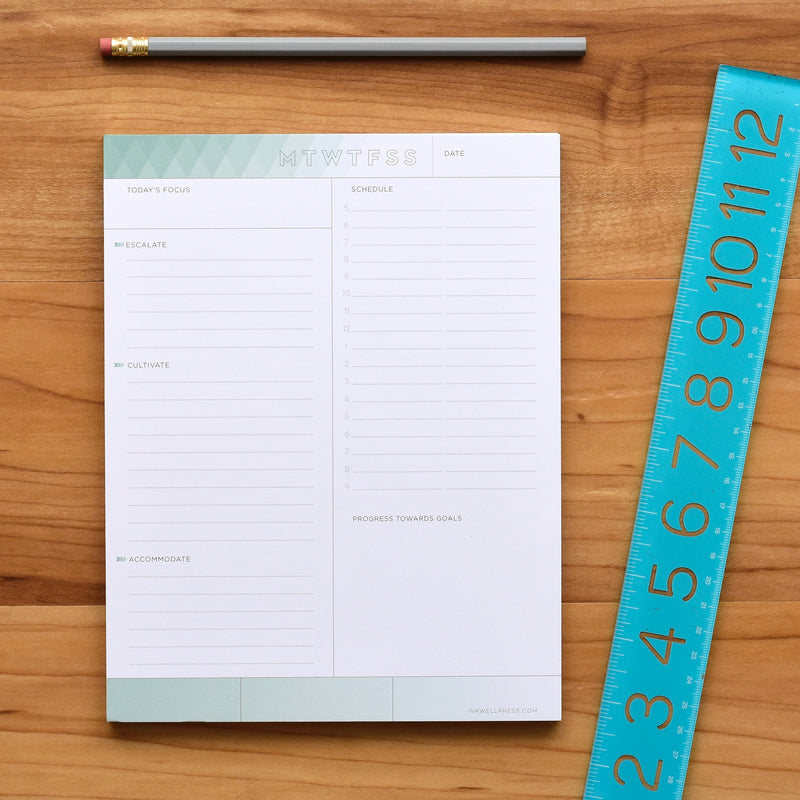 inkWELL Press Daily Focus Notepad showing Colorful Daily Schedule and Accomplishments