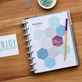 inkWELL Press Planner Colorful Monthly Mission Boards in Silver Discs