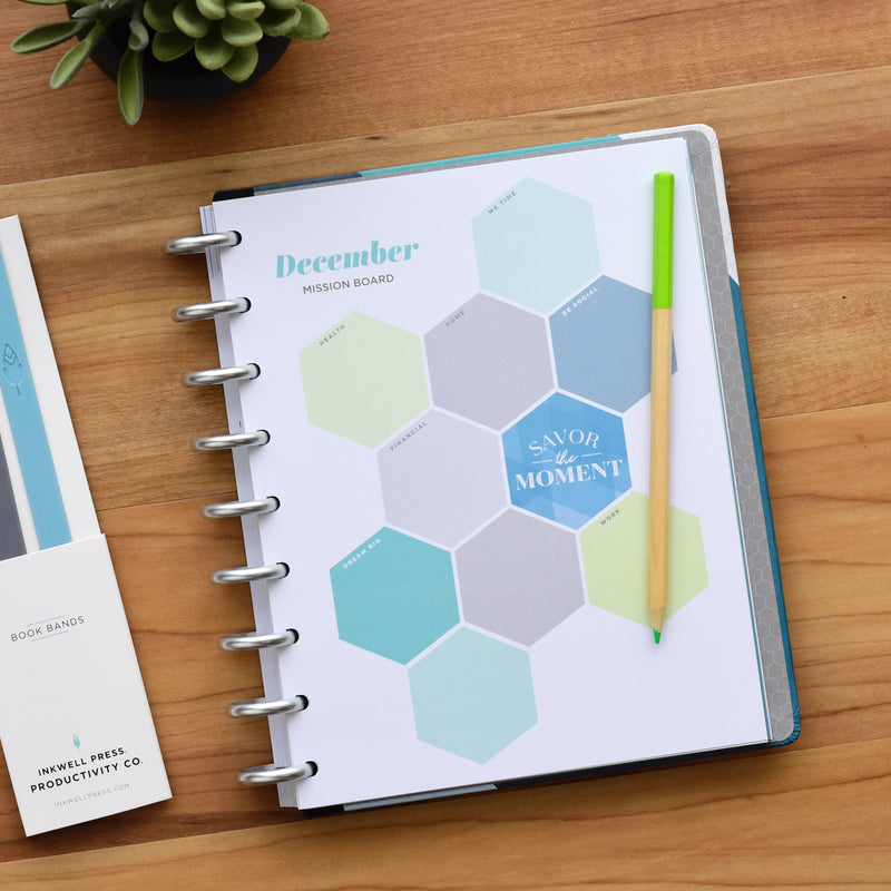 inkWELL Press Planner Colorful Monthly Overview in Rose Gold Discs