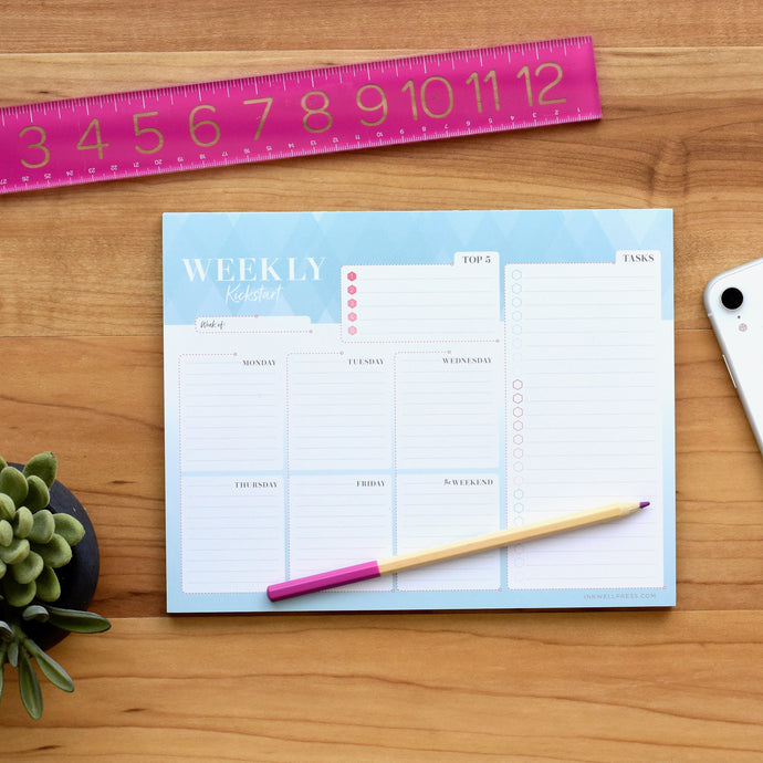 inkWELL Press Weekly Kickstart with Colorful Daily Planning and Weekly Overview
