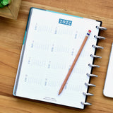 inkWELL Press Weekly Planner showing 2022 Perpetual Calendar with Silver Discs