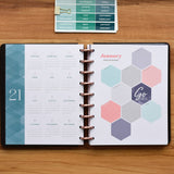 inkWELL Press Weekly Flex Planner showing 2021 Perpetual Calendar and January Mission Boards with Rose Gold Discs