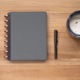 Customizable Disc Bound Planner with Gray Vegan Leather Cover