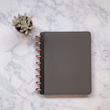 Gray Vegan Leather Cover with Rose Gold Discs