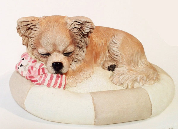 Sleepy Longcoated Chihuahua Figurine