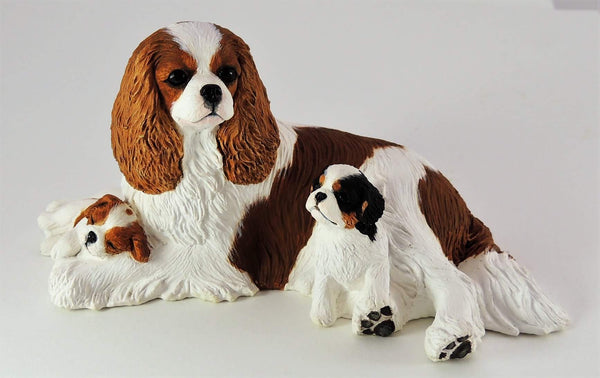 Cavalier King Charles Mother & Puppies Sculpture