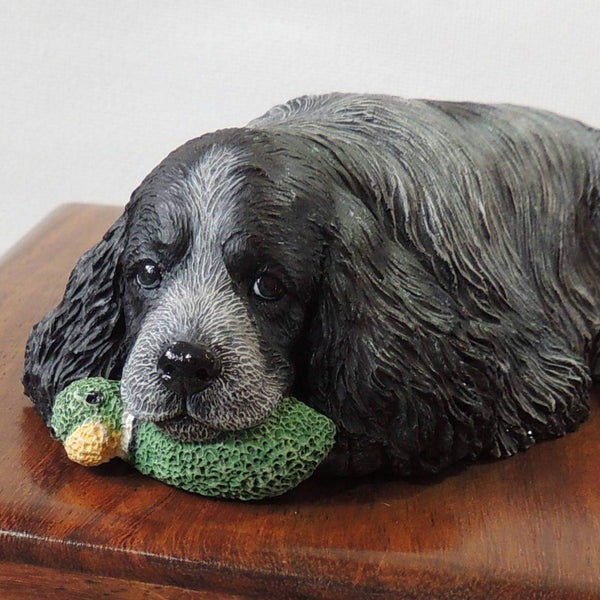 English Cocker Spaniel Wooden Cremation Urn For Ashes