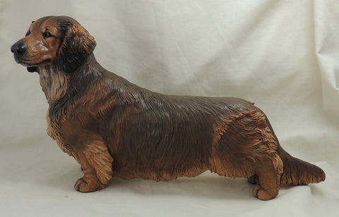 Standard Long Haired Dachshund Original Sculpture