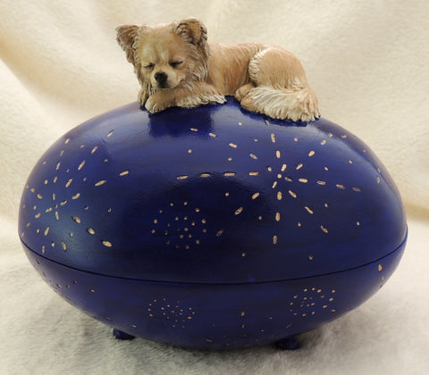Long coated Chihuahua Keepsake Box / Urn