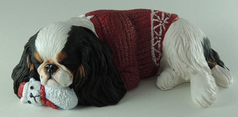 Original Sculpture of a Festive King Charles Spaniel (English Toy)