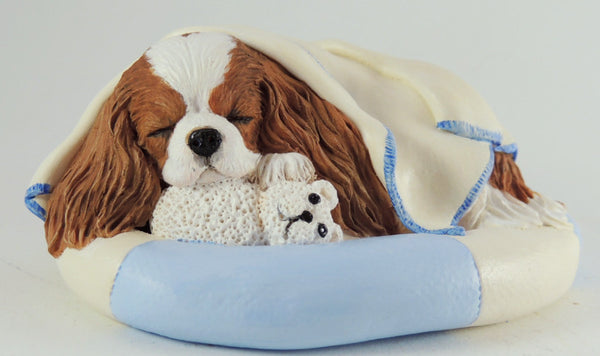 Sculpture Of A Cavalier King Charles Spaniel Wrapped in a Blanket