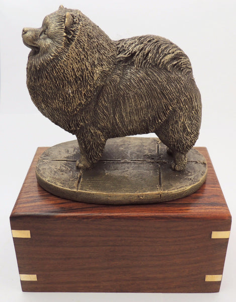 Keeshond Wood Cremation Urn
