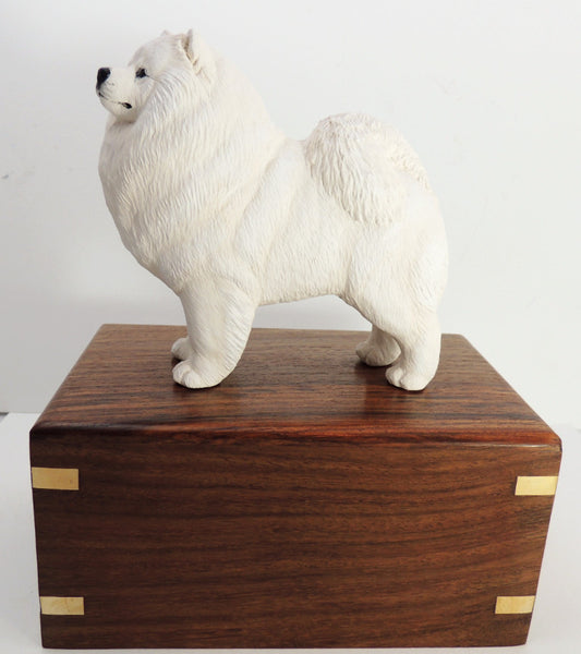 Samoyed Dog Wood Cremation Urn