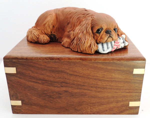 English Toy / King Charles Spaniel Rosewood Cremation Urn