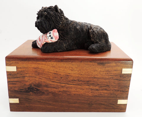 Wooden Cremation Urn For Cairn Terrier, Dog Cuddling Toy