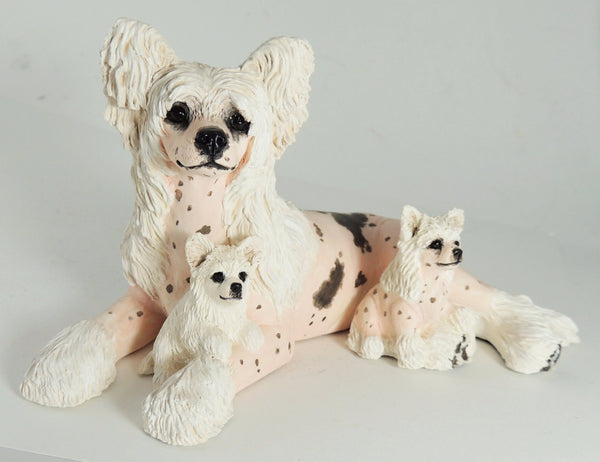 Chinese Crested Mother & Puppies Sculpture by Cavacast