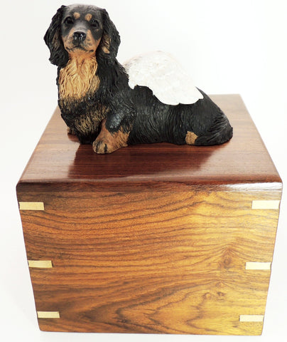 Long Haired Dachshund Rosewood Cremation Urn