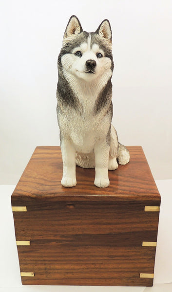 Siberian Husky Wood Cremation Urn