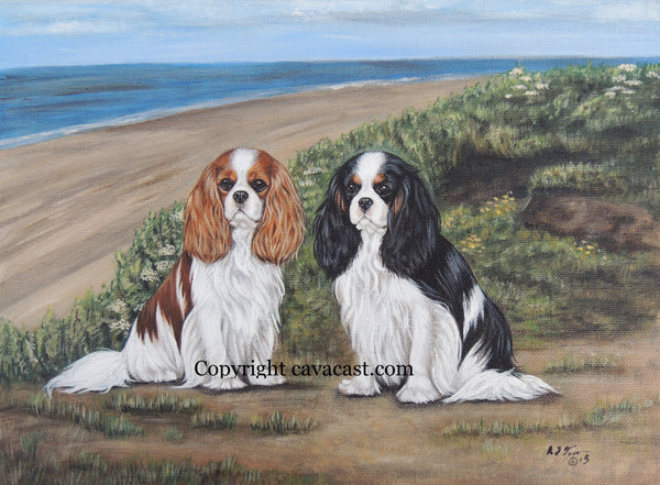 Cavalier King Charles Spaniels at the Beach Limited Edition Giclee Print