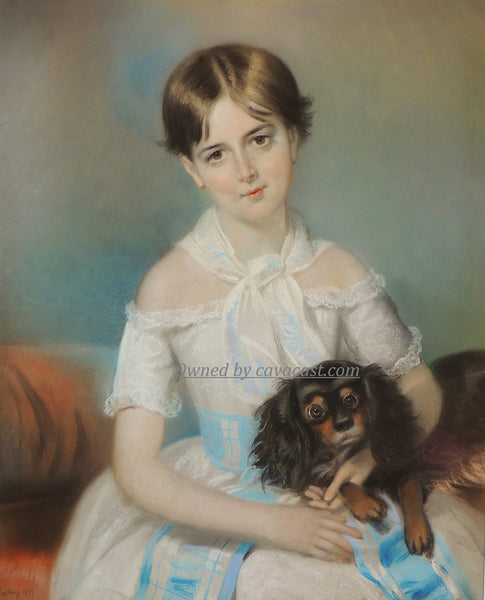 Girl With King Charles Spaniel Print