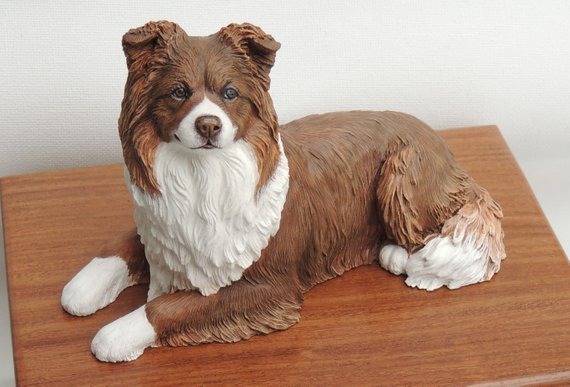 Border Collie Dog Wooden Cremation Urn