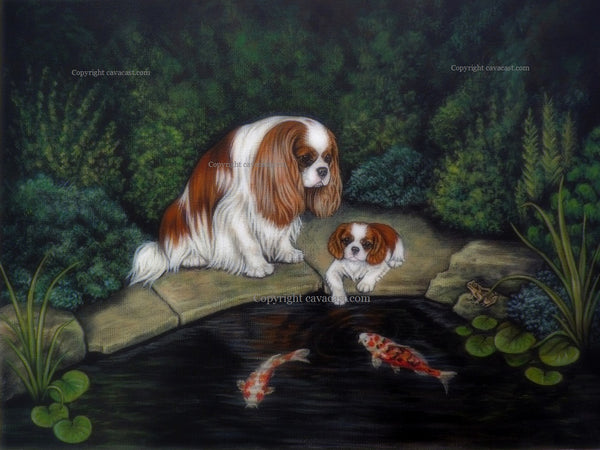 "Original Cavalier King Charles spaniel Painting "" Princess and a frog """