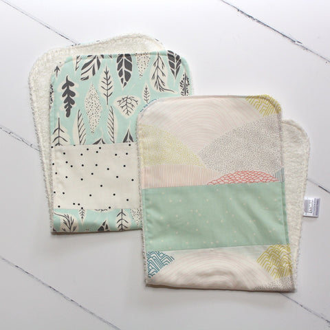 Mint Leaves Burp Cloth Set