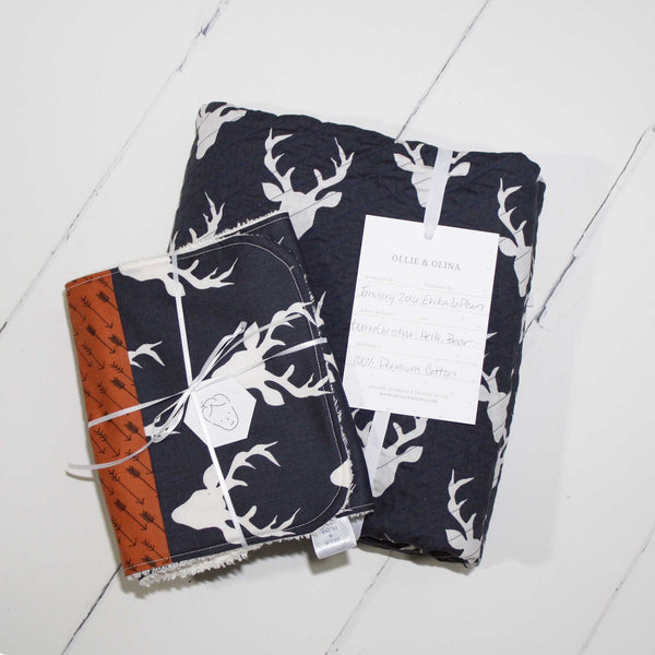 Navy Buck Heads Heirloom Quilt Collection