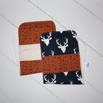 Navy Bucks & Arrows Burp Cloth Set