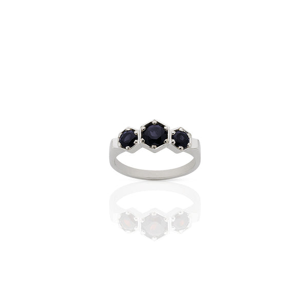 Midnight Sapphire and Sterling Silver Ring