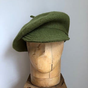 Olive Green Wool brimmed berets made in NYC small batch hand made millinery Karema Deodato Line & Label