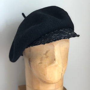 Black and tweed Wool brimmed berets made in NYC small batch hand made millinery Karema Deodato Line & Label