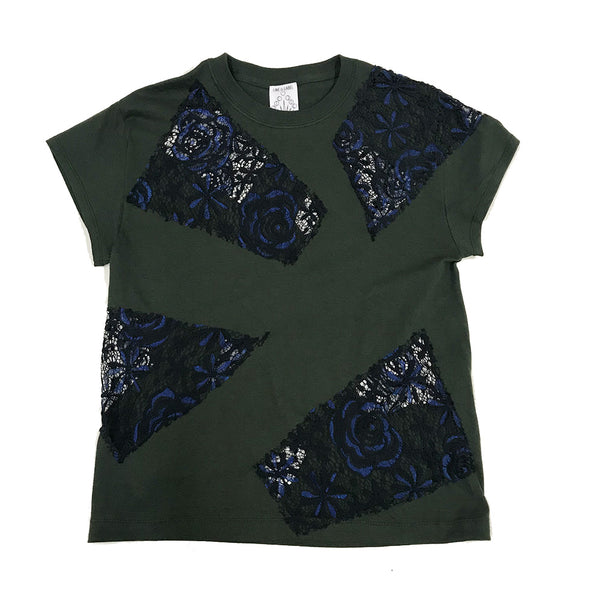 Navy & Black lace inset on Emerald Green Tshirt made in Brooklyn Line & Label