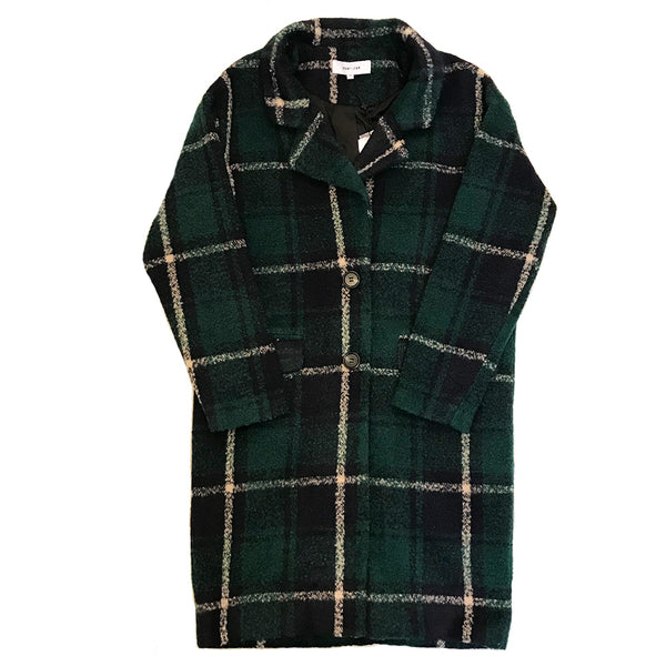 Navy & Green Plaid Wool Coat John & Jenn Tartan Plaid Line & Label