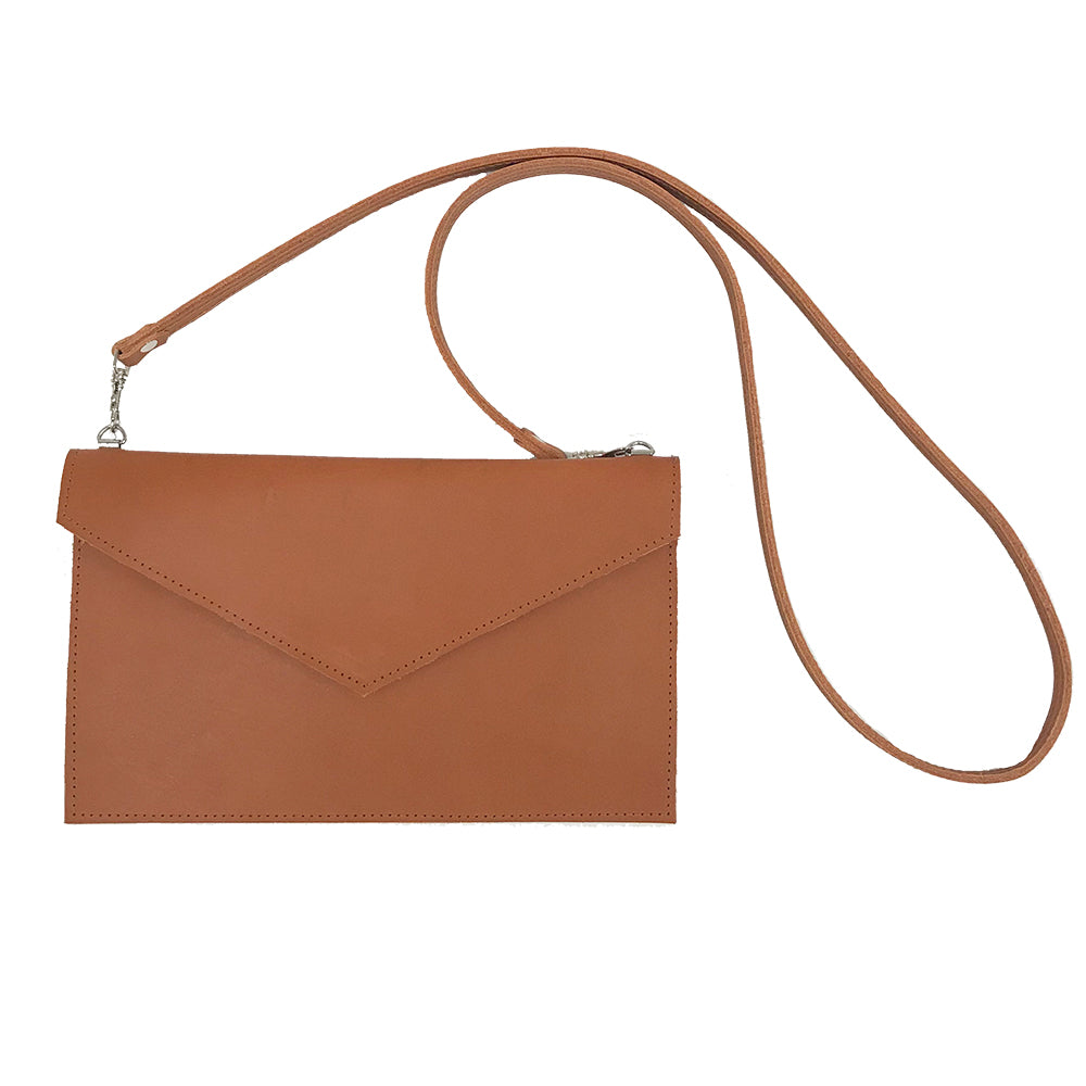 Cognac Leather Mini Envelope Crossbody Made in Greenpoint Line & Label