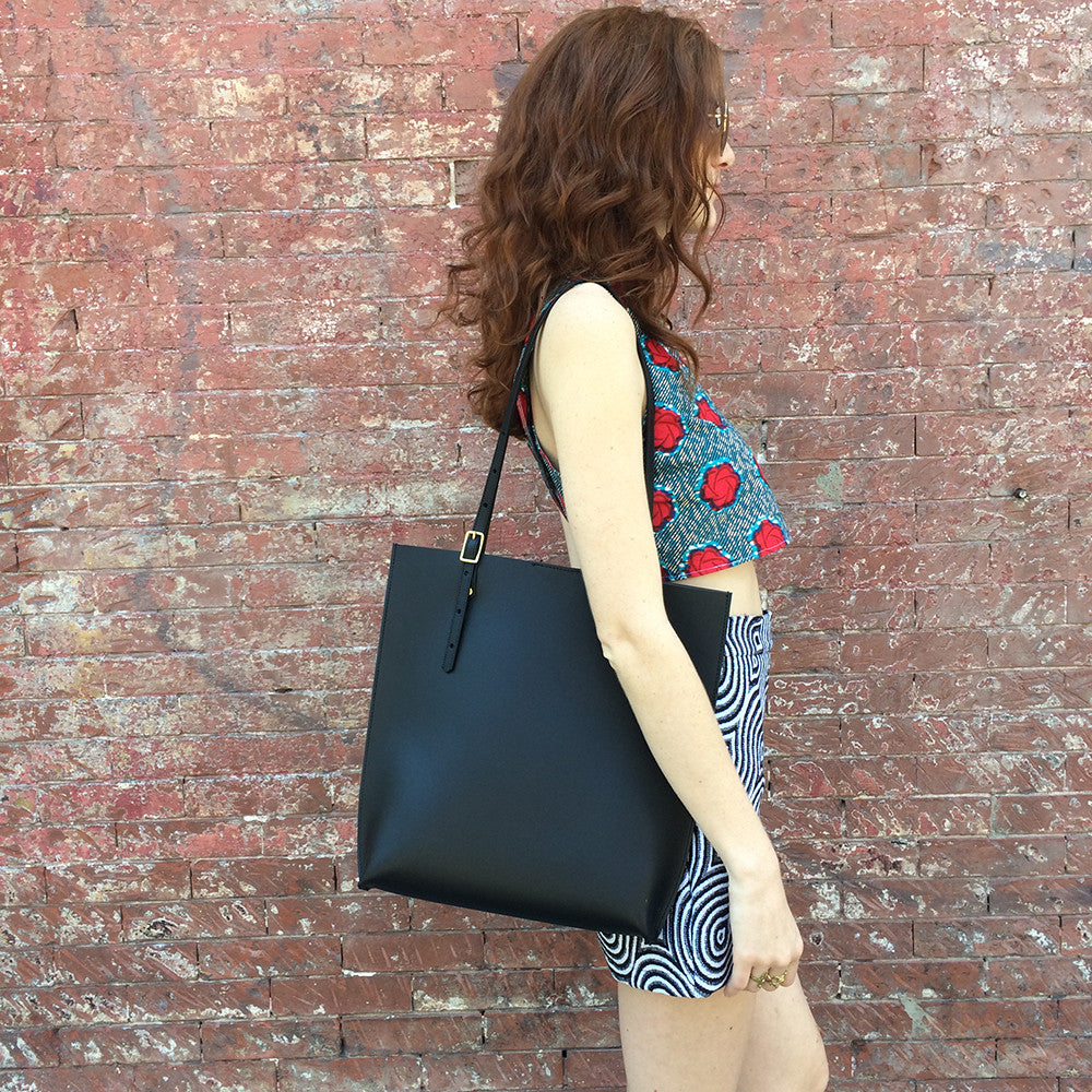Black Leather Adjustable Tote Bag