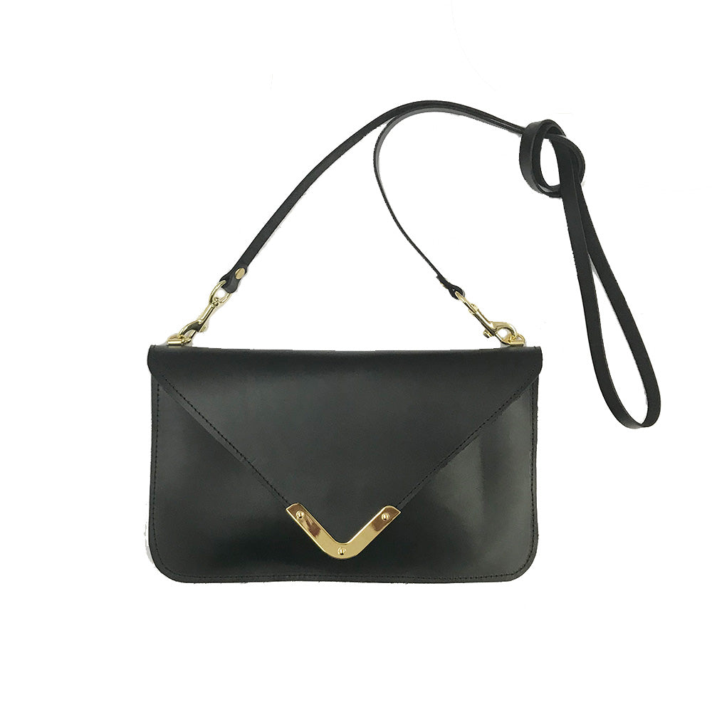 Pat Cleveland Clutch, Black Leather Clutch, Made in Brooklyn, Woman Owned Business, Line & Label