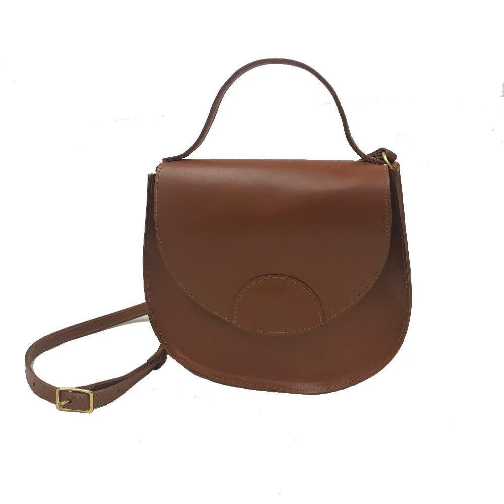 Line & Label Brown Leather Saddle Bag Made in Brooklyn Crossbody adjustable strap