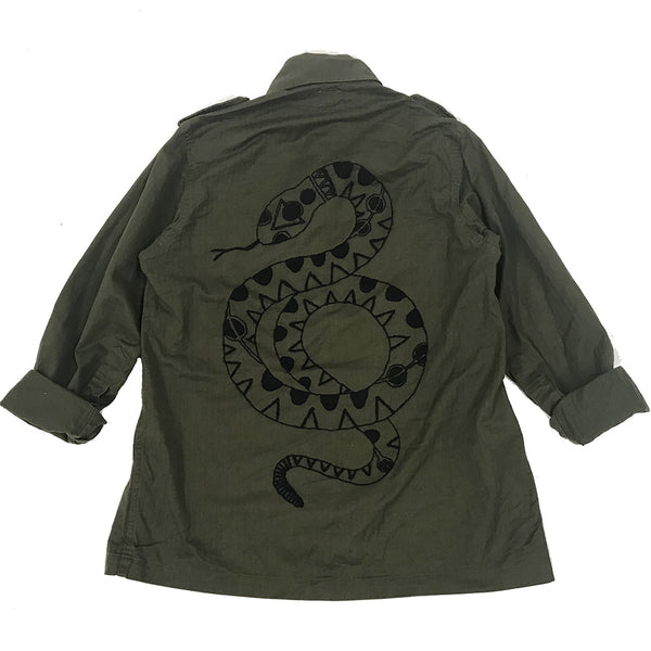 Line & Label Hand Embroidered Geometric Snake Jacket made in Brooklyn
