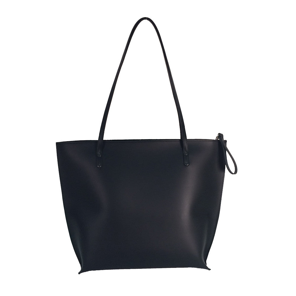 Black Leather Tote Bag with Zipper Closure