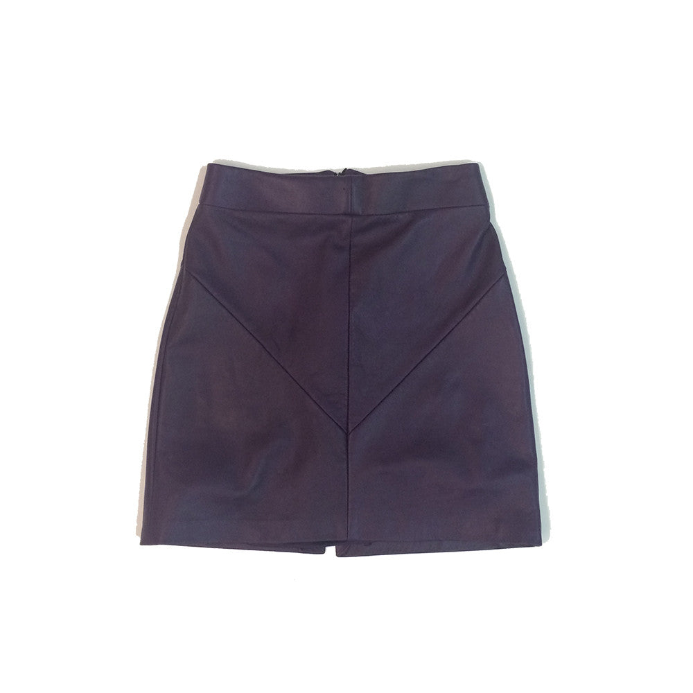 Panel Leather Skirt