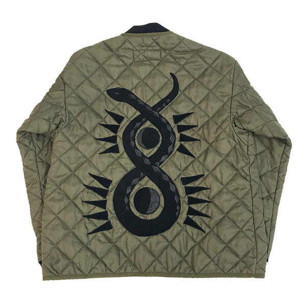 Line & Label Quilted Snake applique military jacket made in Brooklyn