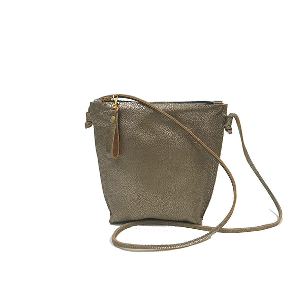 Pebbled Gold leather crossbody adjustable back made in Brooklyn Line & Label
