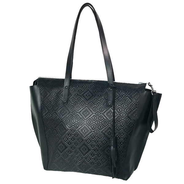 Woven Leather Weekender
