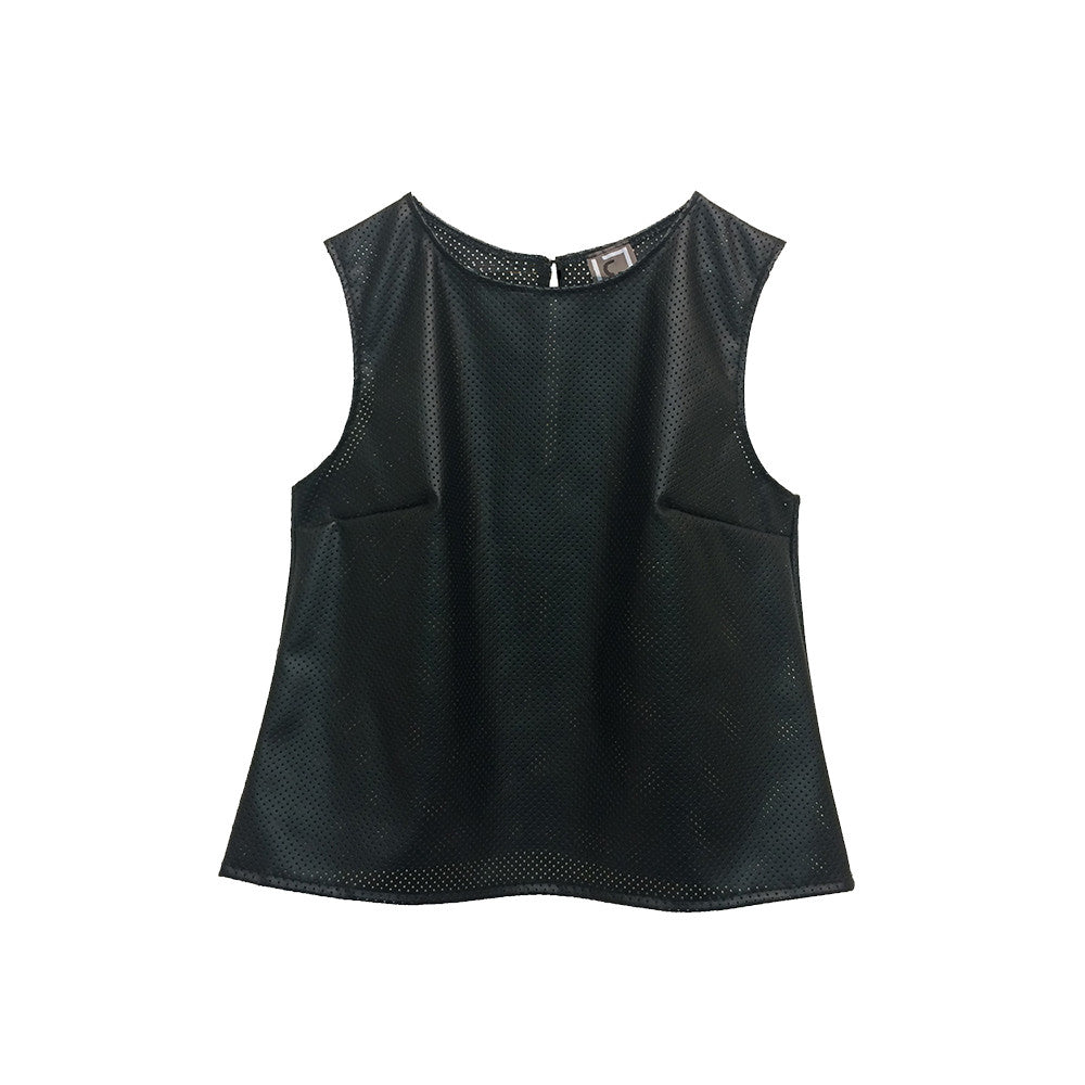 Line & Label Faux Leather Perforated Top made in Brooklyn