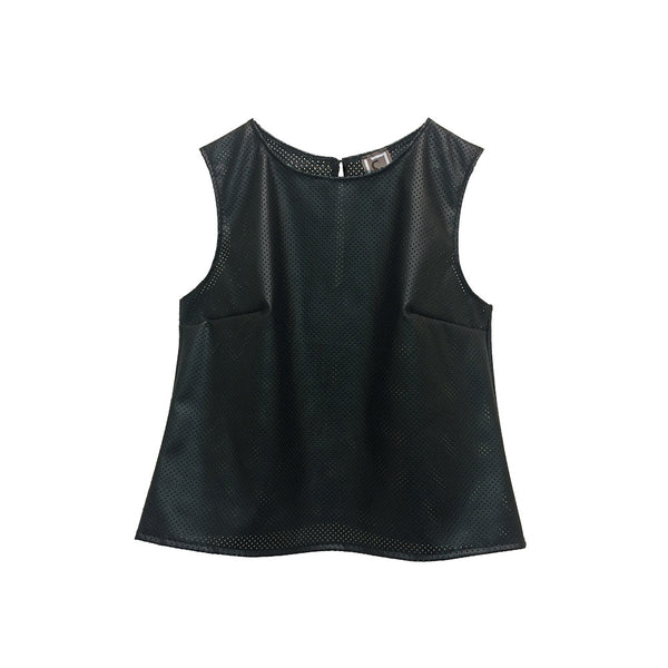 Perforated Faux Leather Top