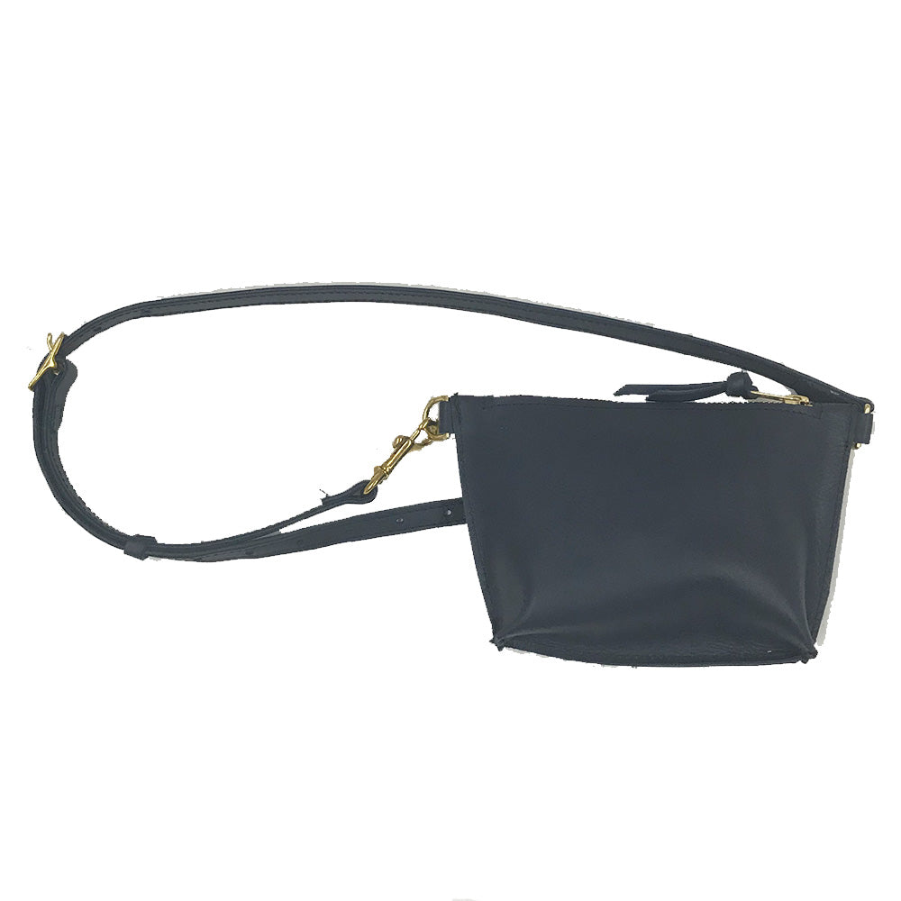 Line & Label Navy Leather Belt Bag Fanny Pack made in Brooklyn