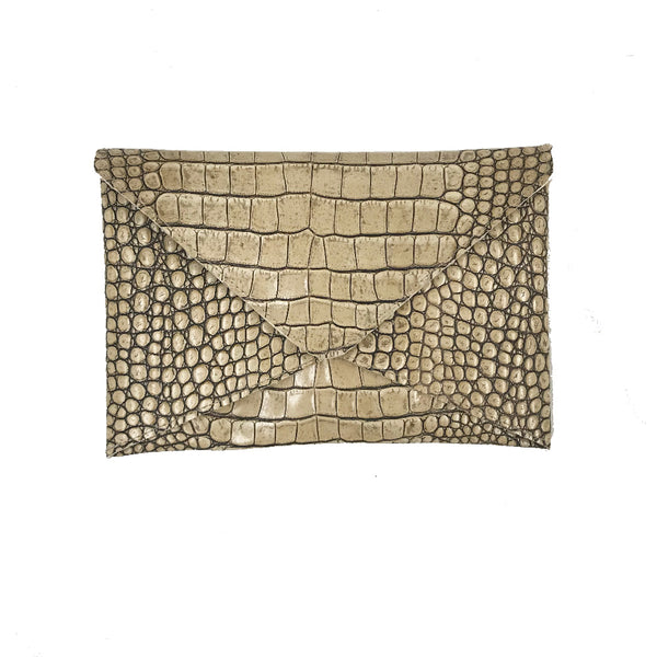 Croc Embossed Leather Envelope Clutch by Line and Label